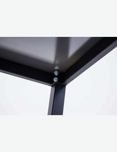 Arezzo small  - Set da giardino composto da un tavolo in metallo con superficie in vetro e quattro sedie impilabili