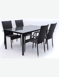 Arezzo big - Set da giardino composto da un tavolo grande in metallo con superficie in vetro e quattro sedie impilabili