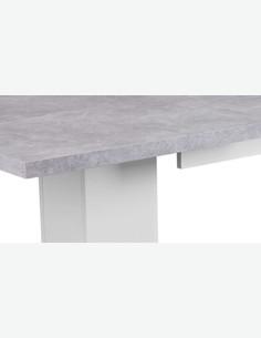 Baricella - Ausziehbarer Esstisch aus Holzdekor in der Farbe Beton / weiß
