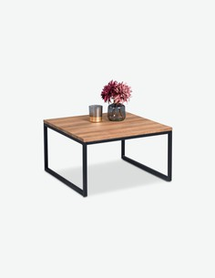 Jagor - Tavolino da soggiorno, telaio in metallo e piano del tavolo in legno laminato