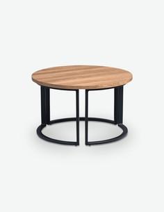 Denver - Tavolino da soggiorno rotondo, telaio in metallo e piano del tavolo in quercia d'imitazione