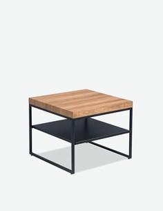 Visto - Tavolino da soggiorno, telaio in metallo e piano del tavolo in quercia d'imitazione