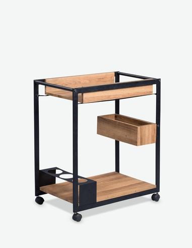 Cuba - Tavolino in metallo su rotelle con inserti di legno laminato di colore quercia