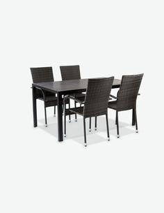 Piave small - Set da giardino composto da un tavolo quattro sedie impilabili