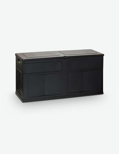 Toomax - Cassettone portaoggetti da giardino / balcone con comperchio, in plastica sintetica nera
