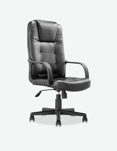 Zoldo - Sedia girevole e regolabile in altezza. Materiale in similpelle nera con seduta e schienale rivestito