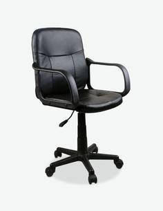 Calalzo - Sedia girevole e regolabile in altezza. Materiale in similpelle nera con seduta e schienale rivestito