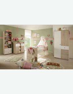 Werni - Kinder-/ Babyschrank mit 2 Türen und 3 Schubkästen aus Holzdekor, in der Farbe Eiche Sonoma / weiß