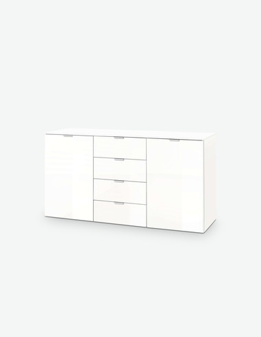 Edition - Kommode mit 4 Schubkästen und 2 Türen, aus Holzdekor