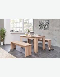 Munich - Bellissimo set con tavolo e due panche per la sala da pranzo, in quercia sonoma