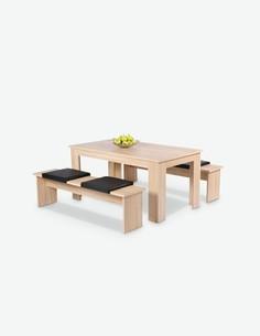 Municch - wunderschöne Tischgruppe, 1x Esstisch, 2x Bank, aus Eiche/sonoma