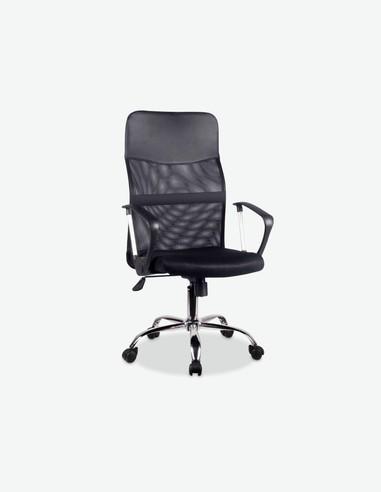 Cibiana - Sedia girevole e regolabile in altezza. Materiale in similpelle e mesh di colore nero con seduta e schienale rivestito