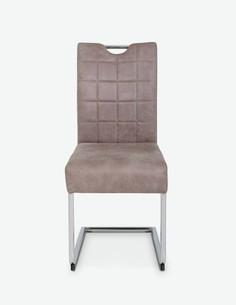 Camillo - Sedia da tavolo in similpelle di colore vintage beige, struttura in metallo cromato