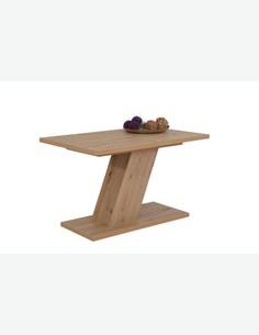 Zilo - Tavolo a colonna allungabile, in legno laminato di quercia artisan