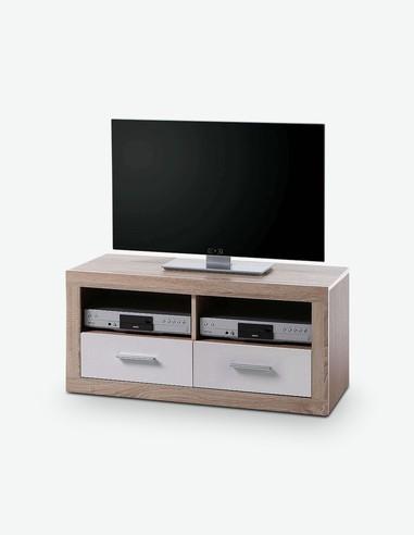 CanCan - TV Möbel aus Holzdekor mit 2 Schubkästen und 2 offenen Fächer, in der Farbe Eiche Sonoma / weiß Hochglanz