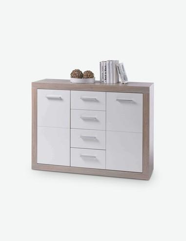 CanCan - Kommode aus Holzdekor mit 2 Türen und 4 Schubladen, in der Farbe Eiche Sonoma / weiß Hochglanz