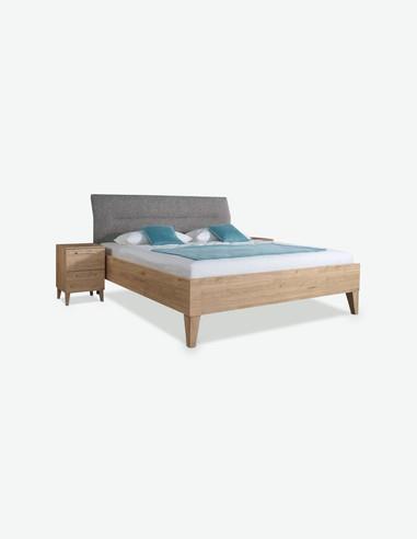 Rionna - Fusto letto in legno laminato di colore Jackson Hickory con testiere in tessuto grigio