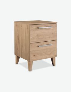 Rionna - Comodino con 2 cassetti, in legno laminato di colore Jackson Hickory