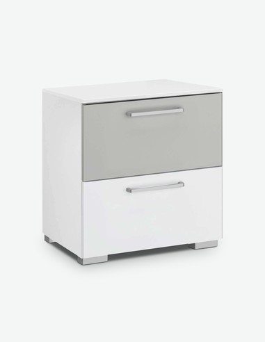 Raila - Comodino con 2 cassetti, in legno laminato di colore bianco alpino / grigio
