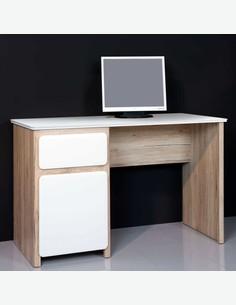 Delia - Scrivania con 1 cassetto ed 1 anta a battente, in legno laminato di colore quercia Sonoma / bianco opaco