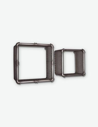 Schio - Set di 2 mensole da muro in acciaio laccato di colore antracite