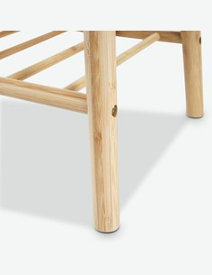 Edo - Panca in legno di bambú massiccio, cuscino grigio compreso
