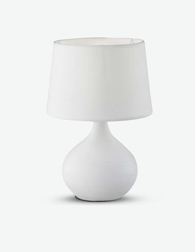 Marvie - Lampada da tavolo in ceramica con paralume bianco
