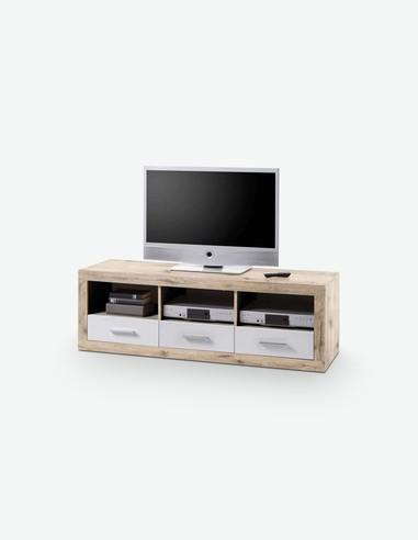 CanCan - TV Möbel aus Holzdekor mit 3 Schubkästen und 3 offenen Fächer, in der Farbe Eiche Sonoma / weiß Hochglanz