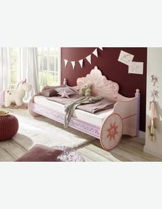 Principessa - Fusto letto in legno laminato di colore rosa, una carrozza letto molto confortevole per vere principesse