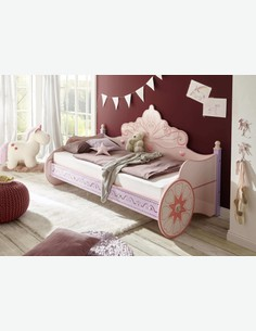 Principessa - Bettgestell aus Holzdekor in der Farbe rosa, ein sehr komfortable Schlafkutsche für wahre Prinzessinnen