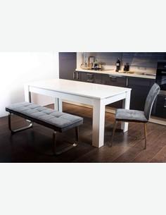 Nino - Stuhl aus Metallgestell und Webstoff grau. Individuell stellbar zu Esszimmerbereichen