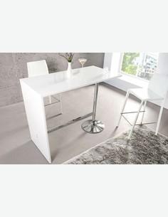 Party - Tavolo da bar in lego laminato con piedistallo cromato, in colore bianco lucido