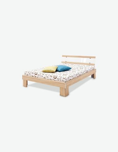 Jacub - Französisches Bett aus Holzdekor in der Farbe weiß / Beton mit Matratze und Rollrost inklusive