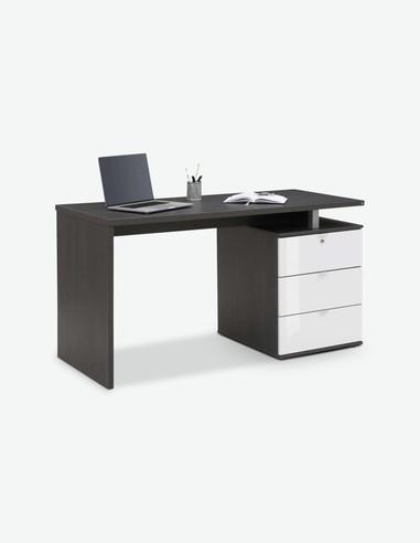 Deborah - Schreibtisch aus Holzdekor in der Farbe Ash-Oak / weiß hochglanz, mit 3 Schubkästen