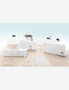 Nardo - TV Möbel mit 2 Türen und 6 Schubkästen, aus Holzdekor, in weiß matt