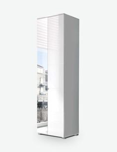 Spilla - Hochschrank in weiß Hochglanz, 1 Holztür, 1 Spiegeltür