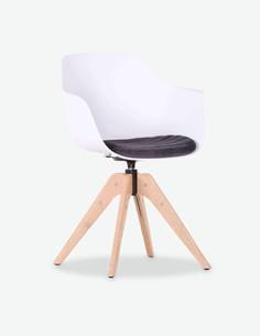 Filu - Sedia in plastica sintetica con piedi in legno e cuscino di seduta compres