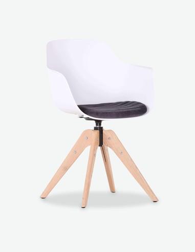 Filu - Sessel aus Kunststoff mit Holzfüßen und inklusiven Sitzkissen