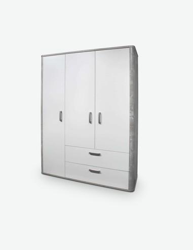 Freddo - Kleiderschrank, 3 Türen und 2 Schubkästen in vintage Wood