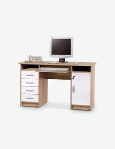 Luca - Schreibtisch in Eiche Sonoma / weiß Dekor