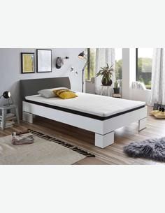 Lina - Letto Futon (letto singolo) in legno laminato di colore bianco / antracite