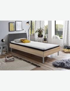 Emily - Fusto letto in legno laminato con materasso, topper e rete a doghe comprese. Disponibile in 2 colorazioni diverse