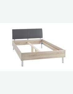Emily - Bettgestell aus Holzdekor mit inklusiver Matratze, Topper und Rollrost. In 2 verschiedenen Faben verfügbar