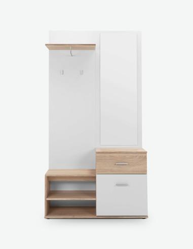 Jenis - Kompaktgarderobe aus Holzdekor in der Farbe Eiche Sonoma / weiß