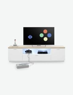 Marino - TV Möbel aus Holzdekor in der Farbe weiß matt / Asteiche