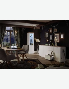 Marino - vetrina in legno laminato di colore bianco opaco / rovere