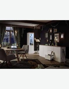 Marino - Mensola da muro in legno laminato di colore bianco opaco / rovere