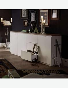 Marino - Kommode aus Holzdekor in der Farbe weiß matt / Asteiche