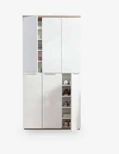 Malena - Schuhkommode mit 6 Türen, aus Holzdekor in der Farbkombination weiß Hochglanz / Eiche Rivera