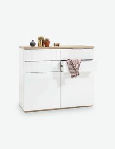 Malena - Kommode mit 2 Türen und 4 Schubkästen, aus Holzdekor in der Farbkombination weiß Hochglanz / Eiche Rivera